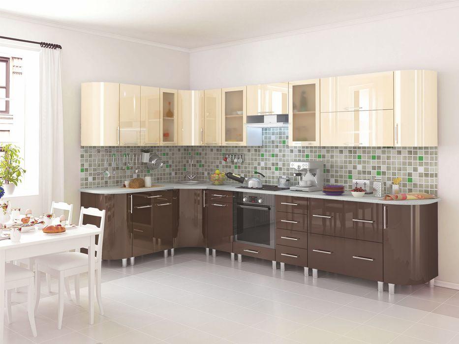 Кухня угловая Танго модульная шоколад-ваниль